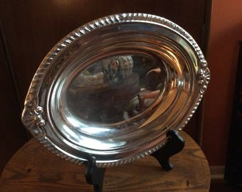 Silver Plate Service Tray with Shells
