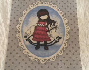 Vignette of vintage fabric / little girl / printing on fabric