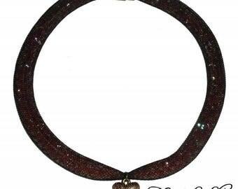 Tubular mesh, red beads, heart pendant necklace