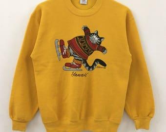 Vintage CRAZY SHIRT Hawaii Big Cat Screen Yellow Sweatshirt Size M