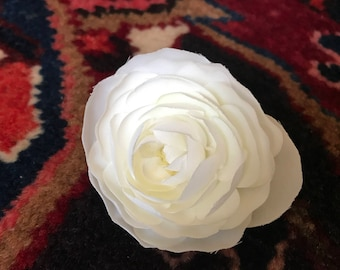 White Ranunculus, Silk Flower, Medium-Sized, Choose as Pin or Hair Accessory