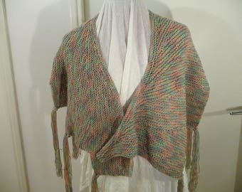 Spring shades, hand knitted Wingspan shawl, fringed