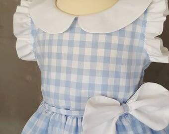 Blue gingham Peter Pan collar dress. HAND MADE