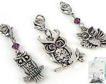 Kit creations of Crystal and metal OWL charms
