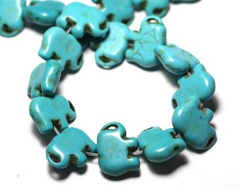 Wire 27pc approx 39cm - Elephant 19mm Turquoise Blue synthetic Turquoise stone beads