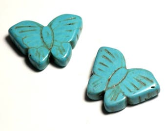Wire 14pc approx 39cm - butterflies 26mm Turquoise Blue synthetic Turquoise stone beads