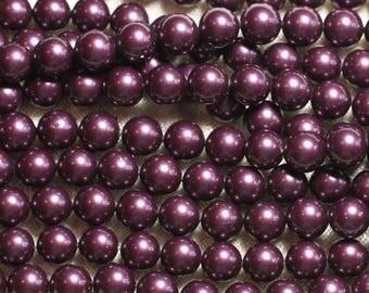 1 strand 39cm - mother of pearl beads 8mm Eggplant Purple balls