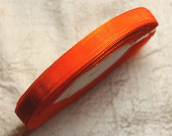 1pc - coil 45 meters - 10mm 4558550009876 Orange Organza fabric Ribbon