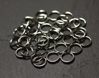 10pc - double open steel rings 8mm Keychain - 8741140010758 stainless