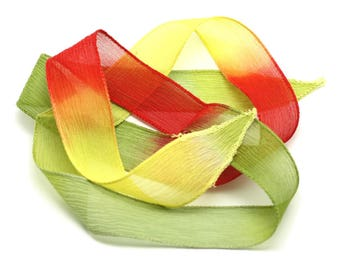 dyed 85 x 2.5 cm yellow green red (ref SOIE167) 4558550001733 Olive 1pc - Silk Ribbon necklace