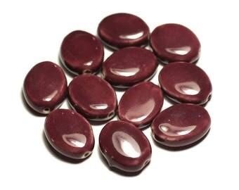4pc - ceramic porcelain oval 20-22mm purple plum - 8741140017597 beads