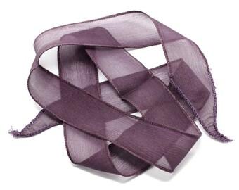 1pc - dyed silk ribbon necklace to 85 x 2.5 cm purple Eggplant (ref SOIE141) 4558550003003