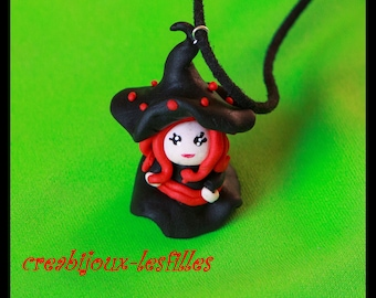 Halloween witch jewelry polymer clay necklace