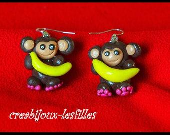 polymer clay earring small monkey banana anniversary gift