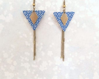 Bohemian earrings, triangles and chains brass bronze - spirit of Japan