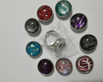 Ring with 9 interchangeable cabochons pressure