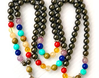 Shungite Chakra beads108 Mala,Wrap bracelet,Mala Necklace,Buddhist Prayer Beads,Meditation,Nurturing,Calming,Compassion,Truth,EMF Protection