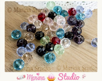 50 faceted beads 8mm Crystal quartz mixed color glass