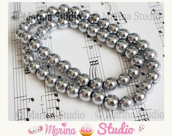 25 beads Hematite 8 mm silver grey for Shamballa or other created jewelry n29883