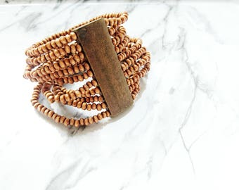 Wood - 10 rows - Brown connector Beads Bracelet