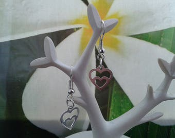 Silver wave heart earrings