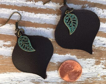 Dark brown leather teardrop earrings with turquise leaf accent