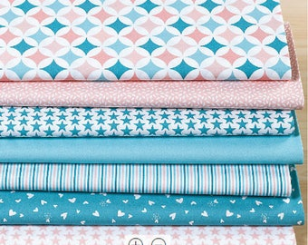 """Set of 7 fabric patchwork 50 x 30 cm """"pastel pink/turquoise"""""""