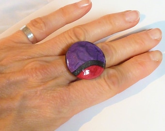 Ring purple and red glitter