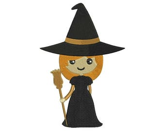 Little Witch Embroidery Design - 4 sizes and 5 formats