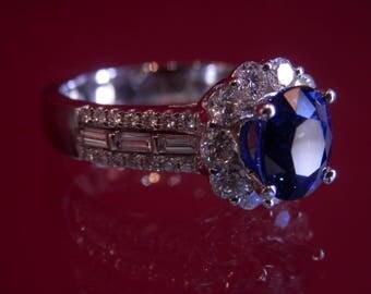 OOAK Handmade Blue Sapphire Diamond Ring (FREE Custom Sizing Available!)