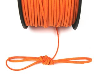 ORANGE suede cord dark 3mm / 1. 5 mm X 1 meter