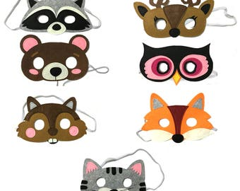 Forest Friends Felt Animal Mask 7 Piece Party Pack