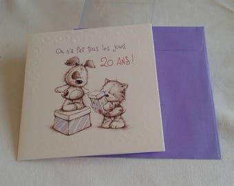 """20 birthday card, envelope collection LES TOODOOS inscription """"there is not every day"""