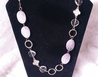 gorgeous veined agate and metal necklace