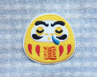 Lucky Daruma Patch  - Iron on Patch, Sew On Patch, Embroidered Patch