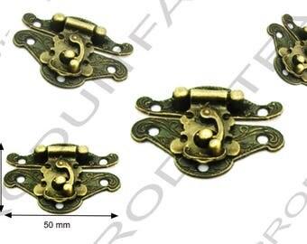 Set of 6 clasps latch lock box jewelry box casket 50 X 40 mm