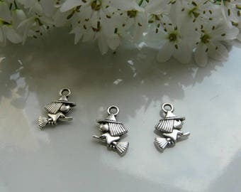 Silver witch pendant charm