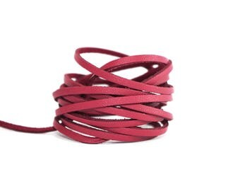 2 meters of suede effect - width 3 mm - red brick color leather cord