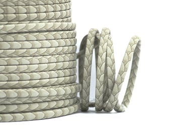 1 M - cord imitation leather Imitation skin - width: 5 mm / Ep. : 2 mm - grey