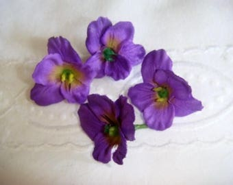 Set of 4 violets of the Woods fabric