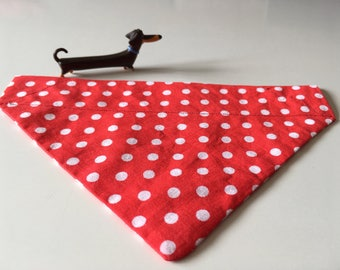 Red & white large spot/polka-dot dog/cat/animal bandana/neckerchief (small)