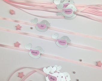 Place card for baptism, pink and silver bird! Customizable upon request. Dimensions: 5.5 by 3.5 cm paper 210g with Ribbon