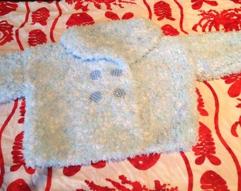 Hand knitted blue overcoat 12 months