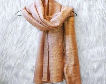 Hand-dyed silk scarf - Bronze