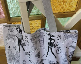 "Summer Tote ""La PARISIENNE"" print and gingham"