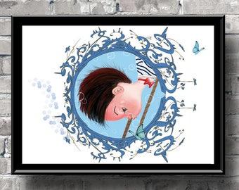 Pop surrealism art print,nursery art,baby shower,baby boy decor,birth gift,birthday,nursery decor