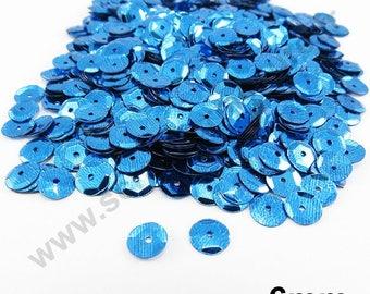 Sequin curved sequin - Blue - 6mm - x 400pcs