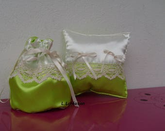 purse and bag in green and white satin ring pillow