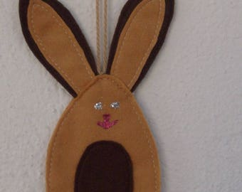 Easter decorations felt beige and Brown rabbit