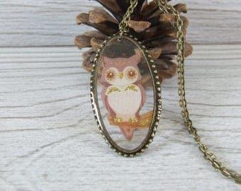 Girl necklace * OWL * resin - handmade